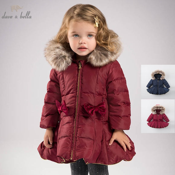 DB6099 dave bella winter baby girls down jacket children 90% white duck down padded coat kids hooded outerwear
