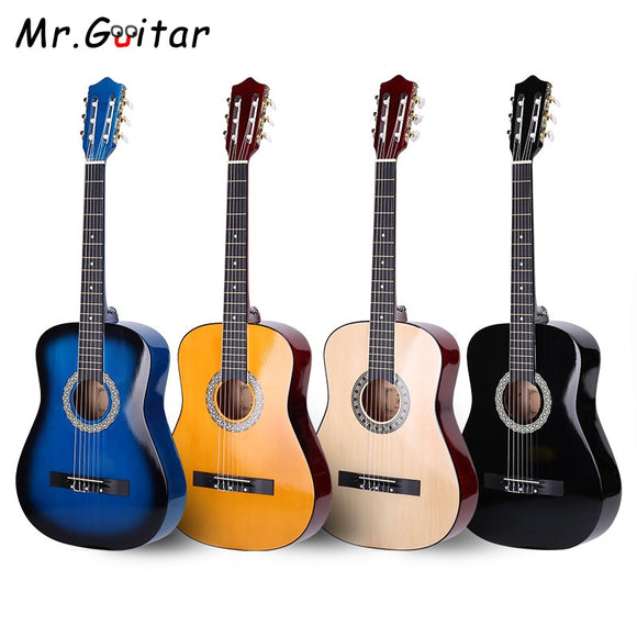 Mr Guitar 38 Classical Guitar 6-Strings 4 Colors Guitar Accessories with Strings Bag Picks Tuner Metronome Guitarra Sets AGT64
