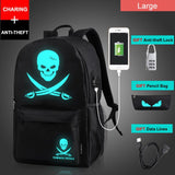 Anime Luminous Student School Bag School Backpack For Boy girl Daypack Multifunction USB Charging Port and Lock School Bag Black