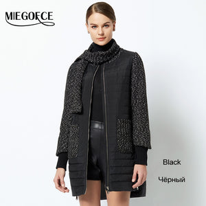Women's Park Coat With a Round Collar Made With Two Materials Has Scarf Warm Women's Jacket New Stylish Collection MIEGOFCE 2018