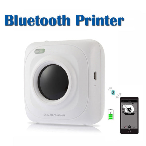 Portable Mini Pocket Printer Wireless Bluetooth 4.0 Paper Photo Thermal Printer USB Charging Phone Wireless Connection Printer
