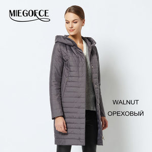MIEGOFCE 2018 Thin Coat Spring Autumn Female Women Jacket Coat Spring Women Parka Warm Windproof With a Large Size Coat Women