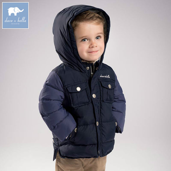 DB6322 dave bella winter baby boys navy down jacket children white duck down padded coat kids hooded outerwear