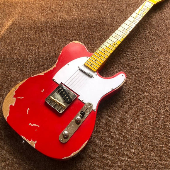 Custom Shop . new handmade telecast gitaar,red Tele electric Guitar relics by hands. master build relic TL guitarra.real photos