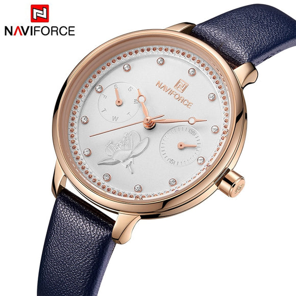 NAVIFORCE Top Brand Luxury Crystal Blue Women Watch Ladies Leather Waterproof Quartz Wrist Watch Female Date Week Display Clock