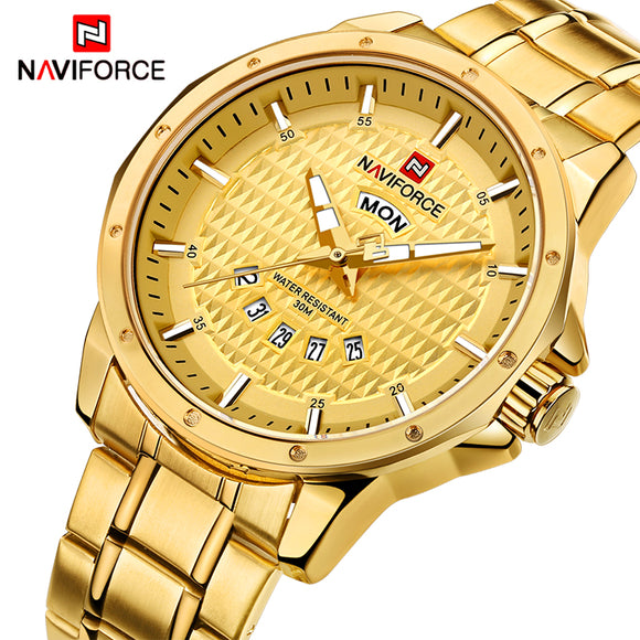 NAVIFORCE Mens Luxury Brand Gold Watches Men Quartz Date Week Clock Man Waterproof Fashion Sports Stainless Steel Wrist watch