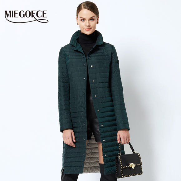 Women Cotton Padded Jacket 2018 Thin Women Quilted Parkas Long Spring Windproof Womens Spring Jackets Coats New Design MIEGOFCE