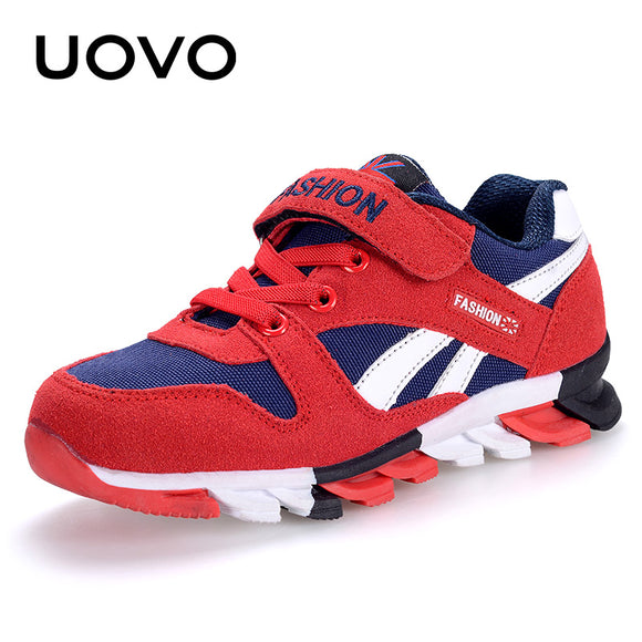 UOVO Spring Autumn Boys Sneakers Children Shoes Canvas Man-made Suede Kids Shoes Fashion Sport Footwear Size 29#-37#