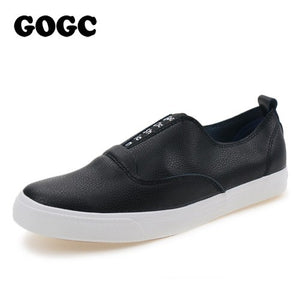 GOGC 2018 New Slipony Women Black Leather Casual Shoes Women Flats Shoes Slip-on Breathable Slipony Shoes Women Vulcanized Shoes