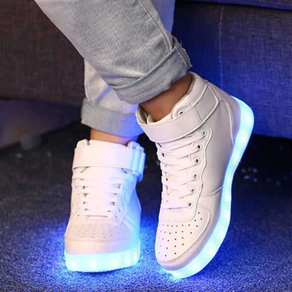 Cool LED Light Shoes Flashing Luminous USB Charging LED Sneakers Trainers Unisex Lace Up Shoe