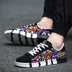 2018 Spring New Men Sneakers Gym Sports Running Shoes Printing Pattern Skateboard Shoes For Students Teens Boy Harajuku Sneakers