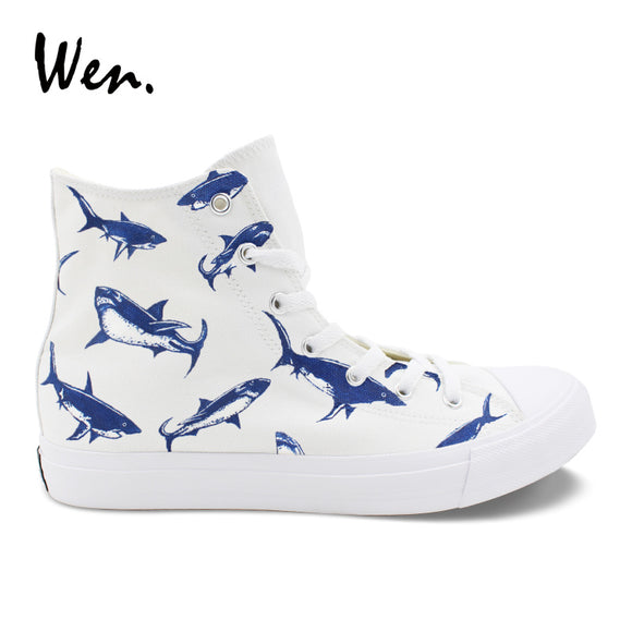 Wen Original Design Sharks Hand Painted White Canvas Vulcanize Shoes High Top Pedal Platform Lacing Flat Teens Sneakers Plimsoll