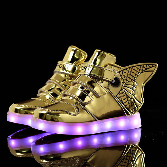 2017 Fashion LED luminous for kids children casual shoes glowing usb charging boys & girls sneaker with 7 colors light up Wing