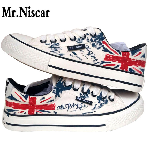 Fashion British Flag Style Graffiti Sneakers Men's Flat Shoes Casual All Season Male Lace-up Breathable Shoes Teen Boys Footwear