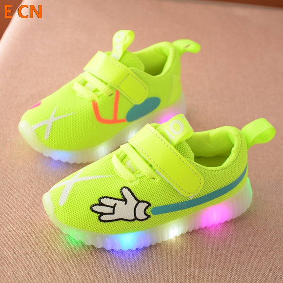 E CN brand 2017 New Sports Kids Breathable  sneakers shoes children Casual boys and girls luminous lighting glowing  LED shoes