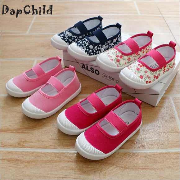 DapChild Children Girls Shoes Fashion Baby Spring Sneakers Floral Canvas Casual Shoes Summer Children Footwear Flat School Shoe