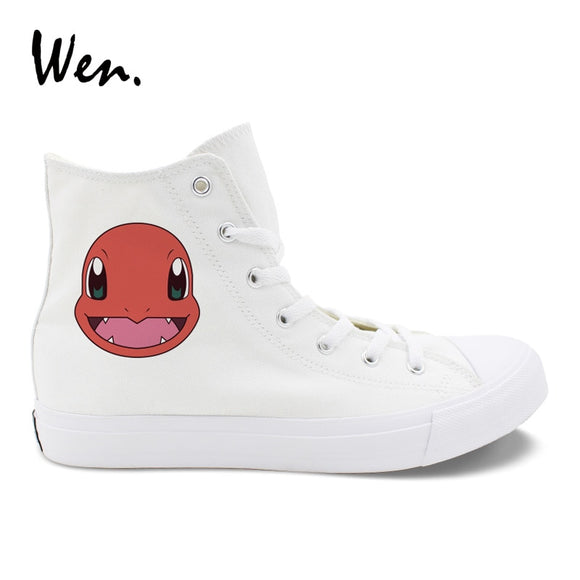 Wen Shoes White Canvas High Top Anime Design Pokemon Charmander Cosplay Shoes Boys Girls Sneakers Teens Plimsolls Flat Zapatos