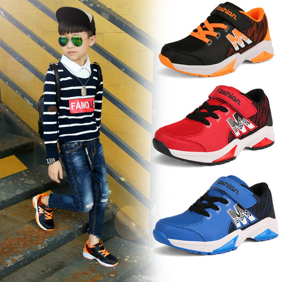 Fashion Kid Casual Shoes Boys Fashion M Letter Mesh Air Childen Sport Running Shoes Size 28-38 Anti Slippery Teens Sneakers