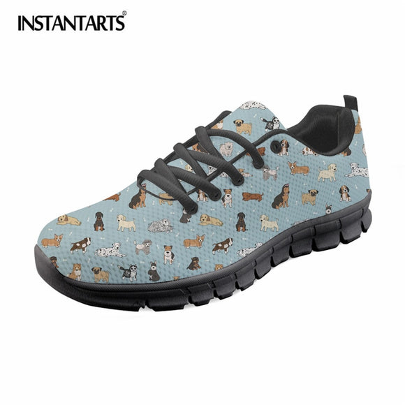 INSTANTARTS Summer Air Mesh Men Casual Shoes Puppy Doodles Printing Lightweight Sneaker Shoes for Boy Teens Fashion Lacing Flats