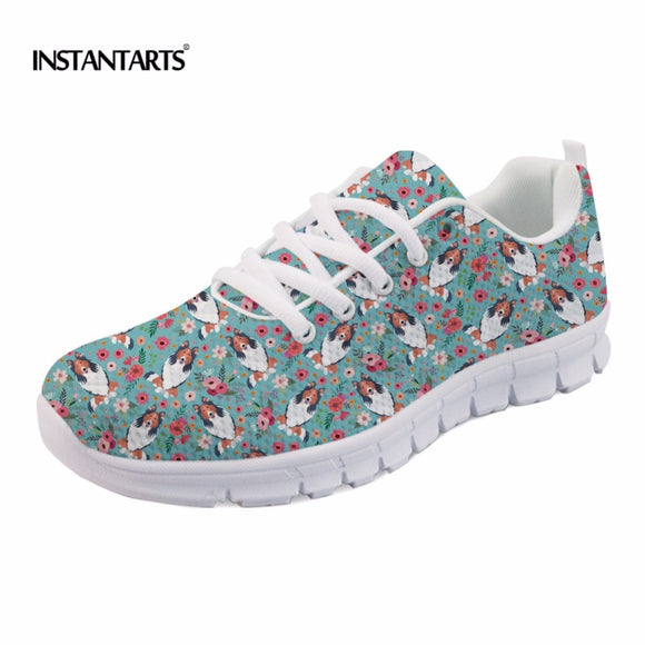 INSTANTARTS Funny Rough Collie Flower Pattern Women Spring/Autumn Flats Shoes Fashion Teen Girl Lace-up Sneakers Mesh Flat Shoes