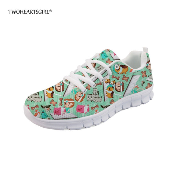 Twoheartsgirl Cute Cartoon Busy Vet Sneakers for Women Leisure Teen Girls Mesh Flats Breathable Lace Up Ladies Casual Shoes