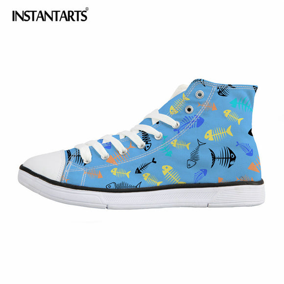 INSTANTARTS Cute Cartoon Fish Design Women High Top Vulcanize Shoes Casual Lace Up Canvas Shoes Girls Teens Sneakers Female
