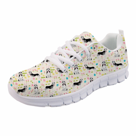 INSTANTARTS Funny Puppy Husky Print Women Mesh Flats Shoes Fashion Teen Girls Spring/Autumn Walking Flats Casual Women's Sneaker