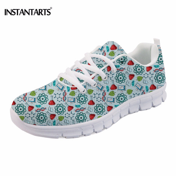 INSTANTARTS Fashion Women Flats Shoes Funny Science Research Pattern Print Teen Girls Mesh Flat Shoes Breathable Leisure Sneaker