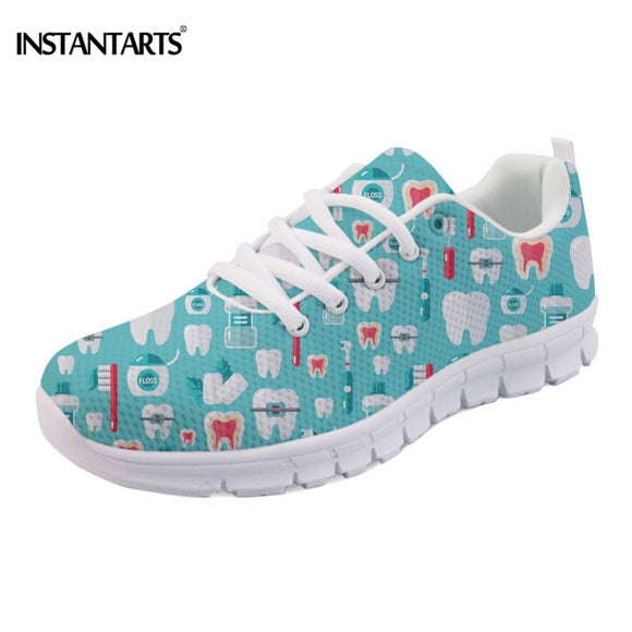 INSTANTARTS Fashion Brushing Essentials Printing Women Flats Shoes Casual Teen Girls Lace-up Mesh Flats Shoes Breathable Sneaker