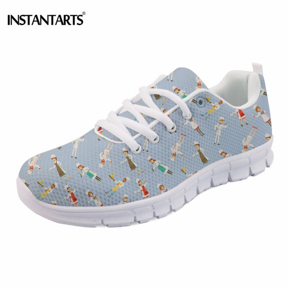 INSTANTARTS Funny Cartoon Happy Chef Print Teen Girls Flat Shoes Breathable Women Mesh Flats Shoes Fashion Spring/Autumn Sneaker
