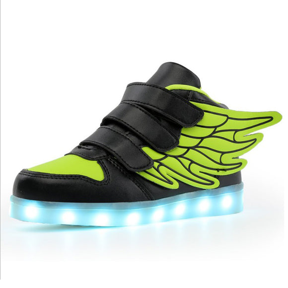 25-37 Size USB Charger Children Luminous Sneakers Kids Glowing Sneakers With Wing Boy and Girl Led Lighting Shoes
