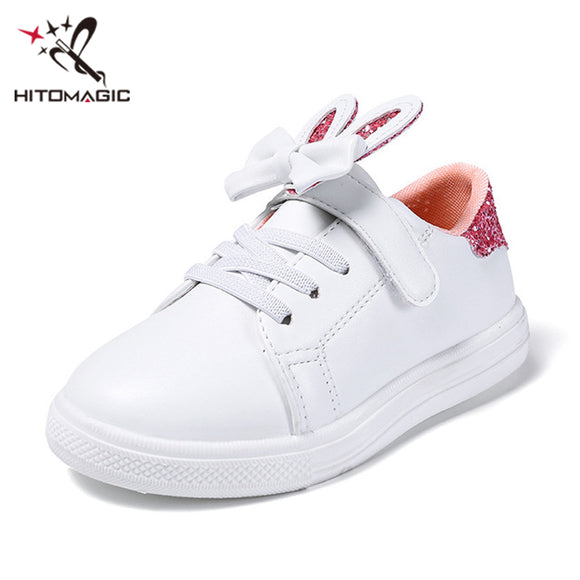 HITOMAGIC Girls Sneakers Kids Shoes For Girl Princess Sport White Breathable With Bow Casual Children Shoes Pink Spring Footwear