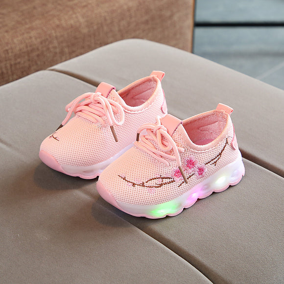 E CN Baby Girls Boys Led Lighted Casual Shoes breathable glowing Embroider flower Sport Shoes Children Kids luminous Sneaker
