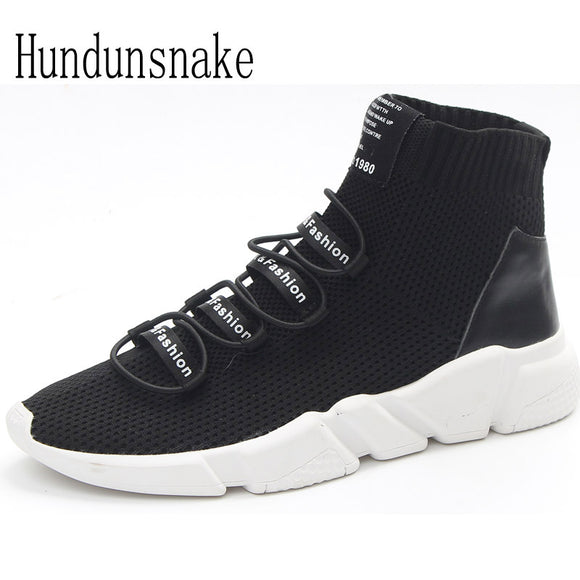 Hundunsnake Black Knitted Trail Socks Sneakers Women 2018 Running Shoes High Top Gumshoes Women Sport Shoes Female Krasovki T386
