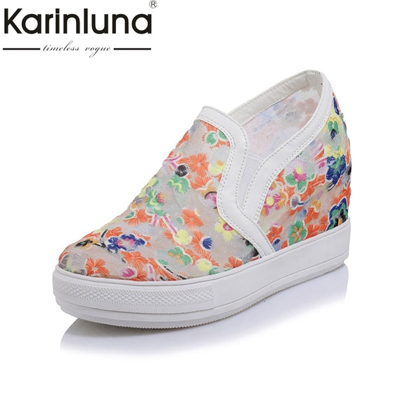 KARINLUNA Bohemia Fashion Big Size 32-45 Platform Women Shoes Mesh Flowers Embroidery Wedge Heels Dating Vulcanize Shoes Woman