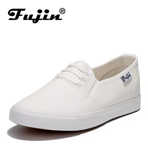 Fujin canvas shoes women's chaussures femmes women casual comfortable canvas flat shoes female spring summer slip on loafers