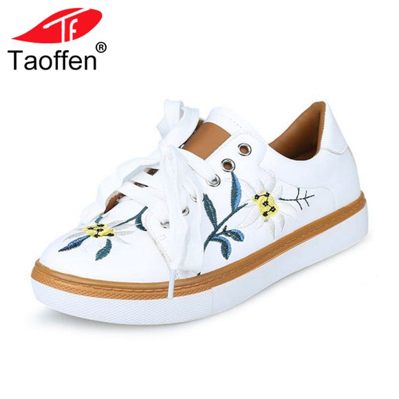TAOFFEN Fashion Women Vulcanized Shoes Round Toe Lace Up Embroider Shoes Daily Classics Club Shoes Women Footwear Size 35-40