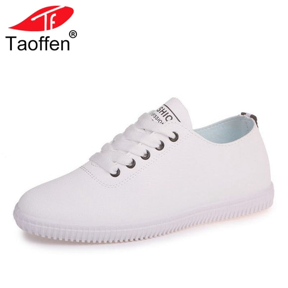 TAOFFEN Women Vulcanized Shoes Lace Up Round Toe Casual Women Shoes Fashion Classic Women Shoes Daily Beach Footwear Size 35-40