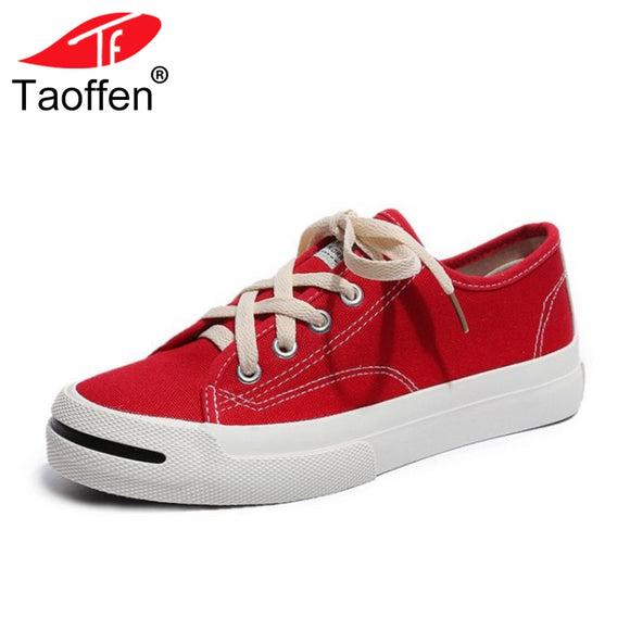 TAOFFEN 4 Colors Women Vulcanized Shoes Lace Up Round Toe Ladies Shoes Concise Casual Canvas Female Shoes Footwear Size 35-40