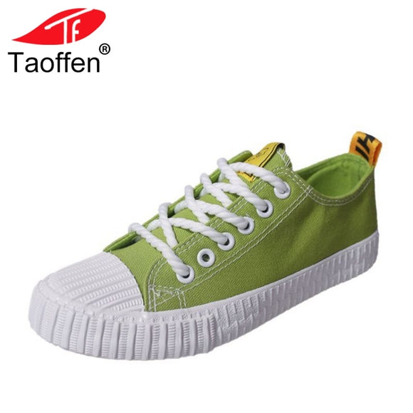 TAOFFEN 4 Colors Women Vulcanized Shoes Round Toe Mixed Color Lace Up Women Shoes Classic Concise Vacation Footwear Size 35-39