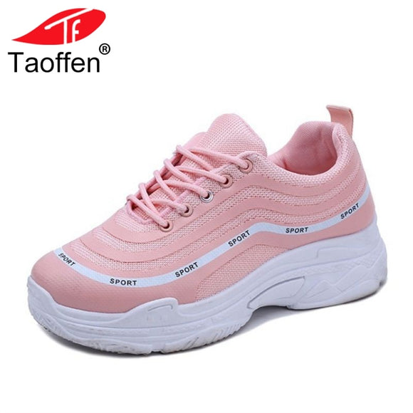 TAOFFEN Vulcanized Shoes Round Toe Lace Up Mixed Color Women Shoes Fashion Ladies Shoes For Vacation Daily Footwear Size 35-39