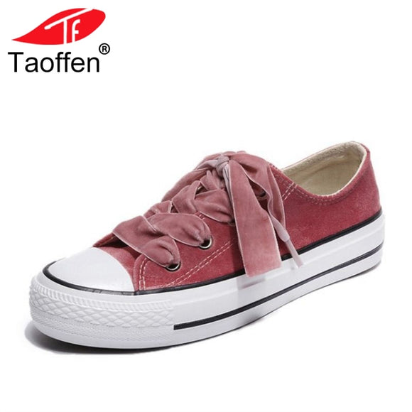 TAOFFEN 4 Colors Women Vulcanized Shoes Round Toe Cross Strap Women Shoes Fashion Simple For Studends Footwear Size 35-40