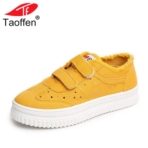 TAOFFEN Women Vulcanized Shoes Round Toe Mixed Color Female Women Shoes Hollow Out Women Shoes Club Holiday Footwear Size 35-39