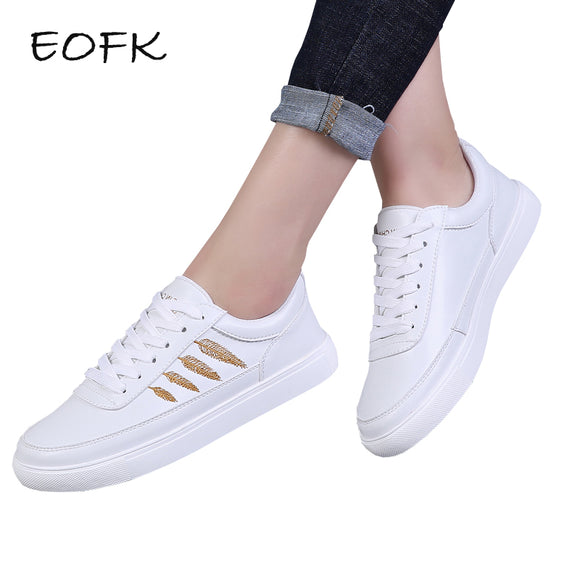 EOFK Autumn Women White Sneakers Shoes Woman Fashion New Design lace Up Comfortable Women's Flat Casual Shoes
