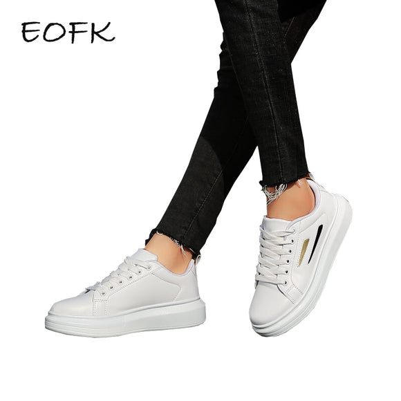 EOFK Women White Sneakers Shoes Woman Autumn Women Fashion New Design lace Up Comfortable Women's Flat Casual Shoes