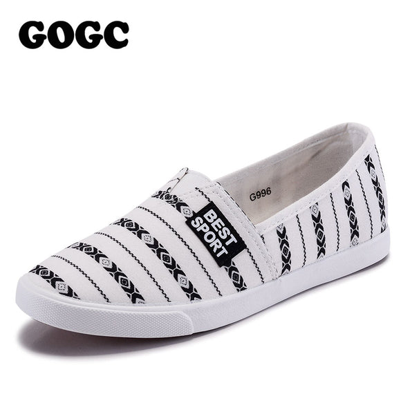 GOGC 2018 Brand Causal Shoes Autunm Summer Shoes Woman Flat Design Canvas Women Slip on Shoes Ladies Footwear Women Sneakers