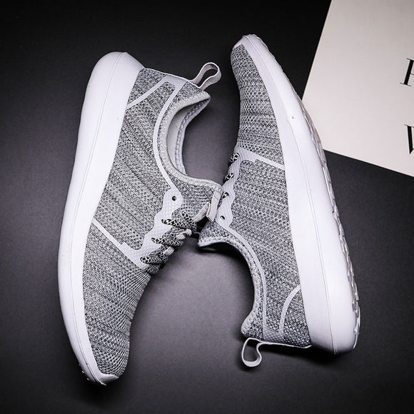 MWY Knitted Breathable Casual Shoes Men Lace Up Comfortable Male Shoes Chaussures Homme Flat Men Shoes Lightweight Sneakers Men