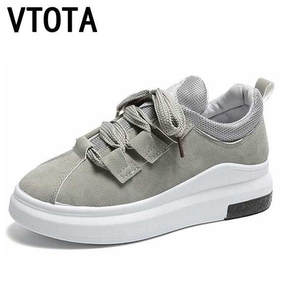VTOTA Sneakers Women Autumn Platform Casual Shoes Spring Zapatos Mujer Plataforma Lace-Up 2018 Black Wedges Shoes Woman H127