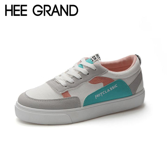 HEE GRAND Women Fashion Shoes Breathable Lace-up Lightweight Shake Sole Sneakers Women Causal Vacation Shoes XWD7009