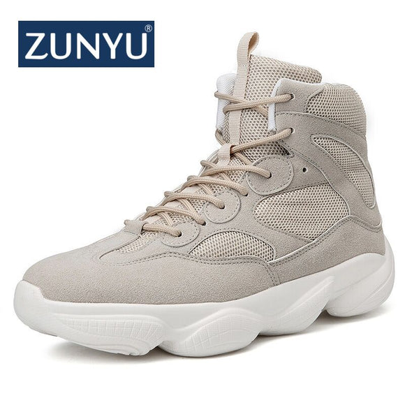 ZUNYU New Fashion High Top Men Shoes Breathable Men Casual Shoes For 2018 Autumn Winter Lace-up Male Footwear Patchwork Sneakers